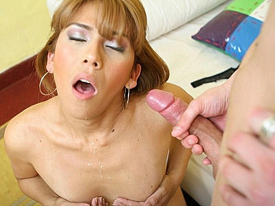 Sexy Tranny Carolina Takes Cum Glazing